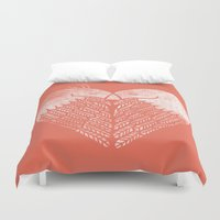 dave grohl Duvet Covers featuring Love birds sitting on a tree by Picomodi