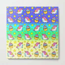 Cute funny Kawaii chibi pink little playful baby unicorns, happy sweet colorful yummy cupcakes and golden stars pretty green and blue rainbow pattern design. Nursery decor. Metal Print
