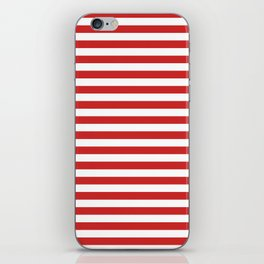 Red and White Candy Cane Stripes Thick Horizontal Lines, Festive Christmas Holiday iPhone Skin