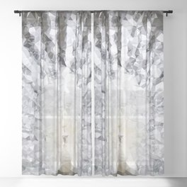 White Peacock Low Poly Geometric Triangles Print Sheer Curtain