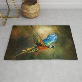 A Flash of Macaw Rug