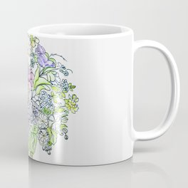 arrangement of flowers in pastel shades on a white background . illustration Coffee Mug
