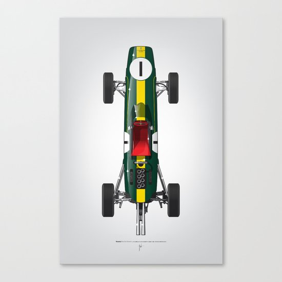 Outline Series N.º1, Jim Clark, Lotus 25-Coventry Climax 1962 Canvas Print