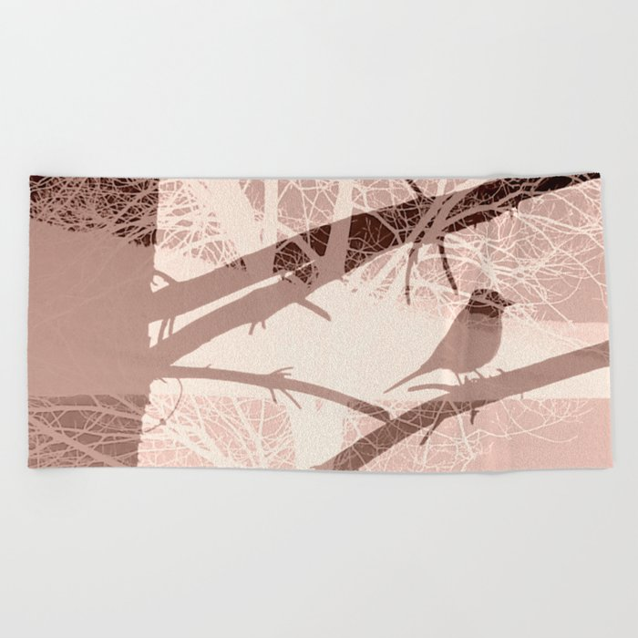 Bird tree Beach Towel