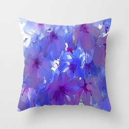 Blue Cherry Blossoms Throw Pillow