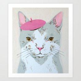 BERET CAT Art Print