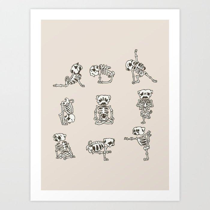Skeleton Pug Yoga Kunstdrucke