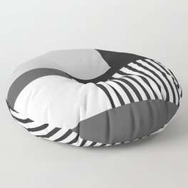 Sol Abstract Geometric Print in Black and White Floor Pillow