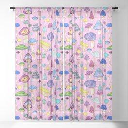 Watercolor Mushroom Pattern on Pink Sheer Curtain