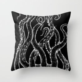 Funky White Tentacles Octopus Ink on Black Throw Pillow