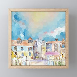 Colorful street in old town under abstract sky Framed Mini Art Print