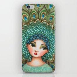 Peacock girl iPhone Skin