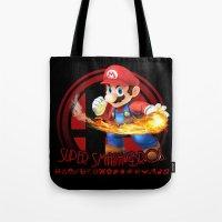 smash bros Tote Bags featuring Mario - Super Smash Bros. by Donkey Inferno