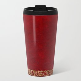 Red and Gilded Gold Book Travel Mug