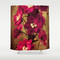 vintage flowers Shower Curtains featuring Vintage Flowers by Christine Belanger