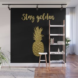 Stay Golden Precious Tropical Pineapple Wall Mural