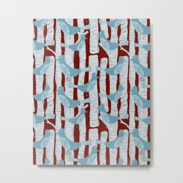For the Birds and Birch Trees Metal Print