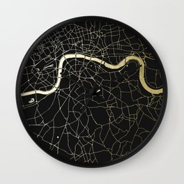 London Black on Gold Street Map Wall Clock