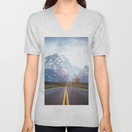 Mountain Road - Grand Tetons Nature Landscape Photography Unisex V-Neck