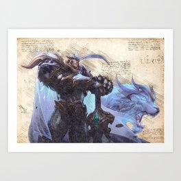 God King Garen skin da vinci style artwork Art Print