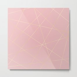 Blush pink & gold Metal Print