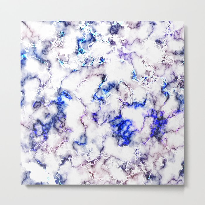 Blue and Pink Veined Marble Metal Print