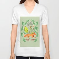sayings V-neck T-shirts featuring Every Fox...fox, sayings, typography, quote, nature, leaves by Slumbermonkey Designs