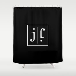 """ Mirror Collection "" - Minimal Letter J Print Shower Curtain"