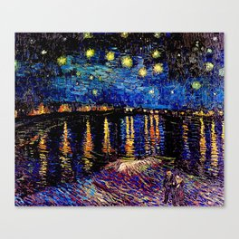Over the rhone(starry night) Canvas Print