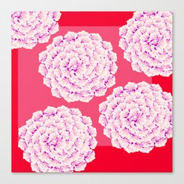 Large Flower Balls On Red Background - #Society6 #buyart Canvas Print