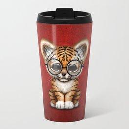 Cute Baby Tiger Cub Wearing Eye Glasses on Deep Red Travel Mug