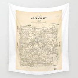 Map of Jack County, Texas (1879) Wall Tapestry