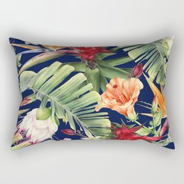 Navy Tropical Pattern Rectangular Pillow