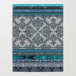 Teal, Aqua & Grey Vintage Bohemian Wallpaper Stripes Poster