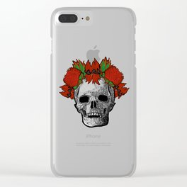 Gorgeous Australian Native Flower Crown on Skull Clear iPhone Case