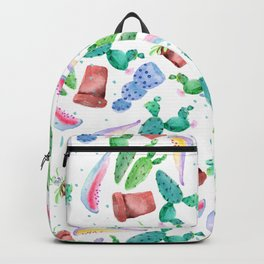 Colorful pink green lilac watercolor cactus Floral Backpack