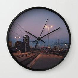Sunset railway town Wall Clock