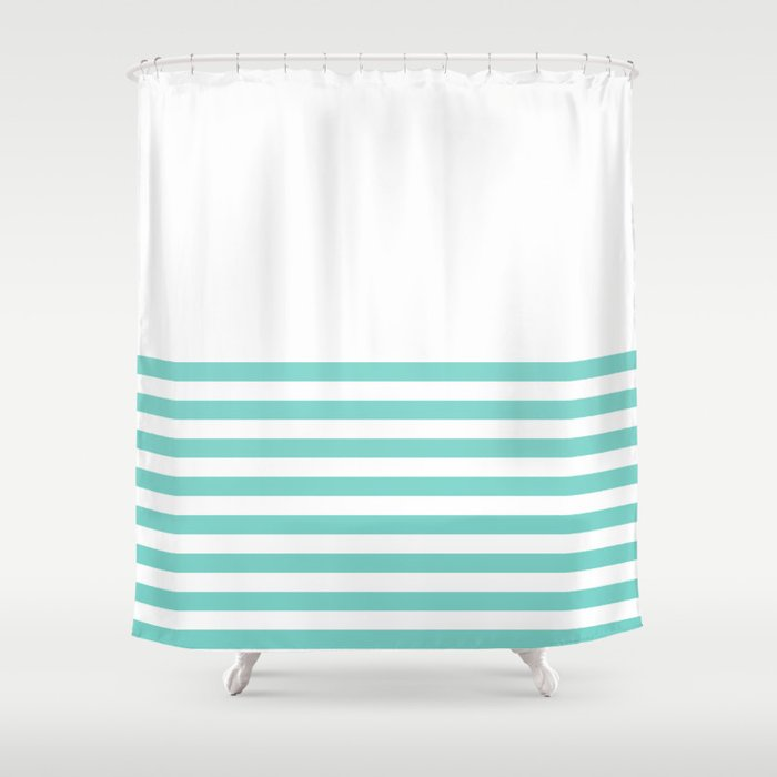 Tiffany Blue Half Stripe Shower Curtain By Newwave