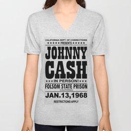 1968 Folsom State Prison Johnny Cash Vintage Tour Poster Unisex V-Neck