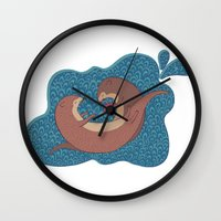 otters Wall Clocks featuring Underwater Otters by Amarie