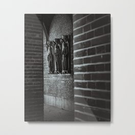 Statues at Dóm tér / Dom Square in Szeged, Hungary / B&W Metal Print