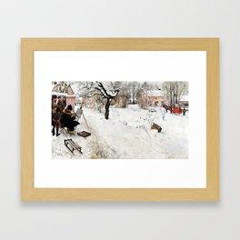 Carl Larsson Open-Air Painter. Winter-Motif from Åsögatan 145, Stockholm Framed Art Print
