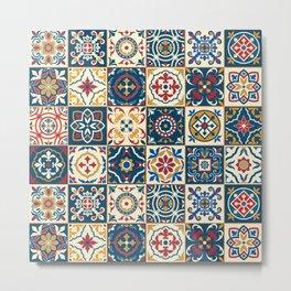 Moroccan Tiles Pattern Multicolor Metal Print