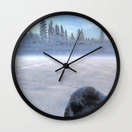 Animal Tracks - Black Bear in Snow Wall Clock