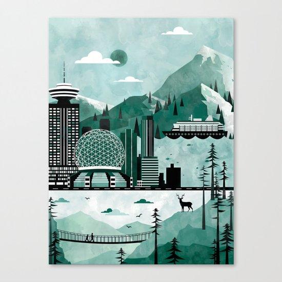 Vancouver Travel Poster Illustration Canvas Print