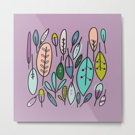Fun Foliage + Feathers | Grape Purple Metal Print