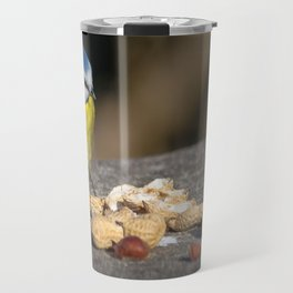 Blue tit feeding Travel Mug