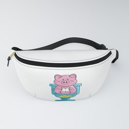 Funny Pig On Toilet Piggy Bank Potty Training Pun Fanny Pack