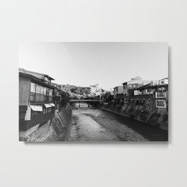 Old town Takayama city in Gifu, Japan   Black and white Travel Photography   Japanese city view over the river  Metal Print