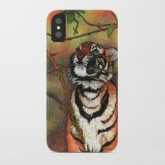 Baby tiger is playing iPhone X Slim Case